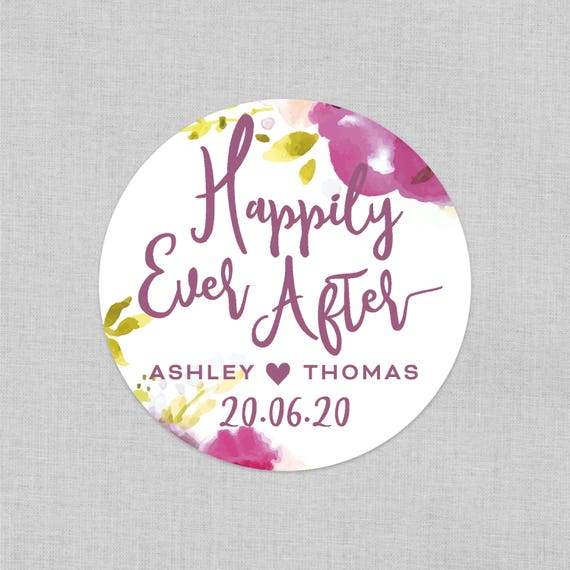 Happily ever after stickers for wedding favours, Wedding stickers and labels, Wedding favours for guests, Personalised stickers wedding