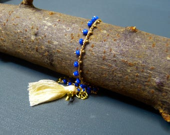 Navy Blue & gold seed bead chain anklet