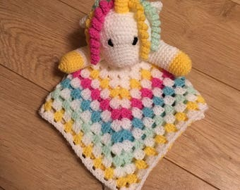 Hand crocheted Unicorn comforter finished product
