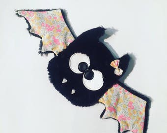 Bat plush mouse in black minky soft and liberty neon.
