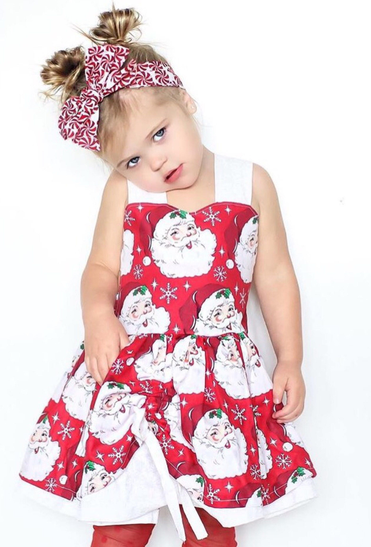 Girls christmas dress baby dress santa dress open back dress