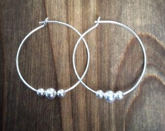 Sterling Silver Hoop Earrings - Silver Hoops - Silver Hoops With Beads