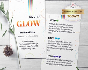 Rodan and Fields Mini Facial Cards, Editable PDF,  Instant Download, Give it a glow, RF Mini Facial, Facial Instructions, Microdermabrasion