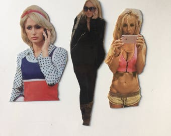 Celebs On Their Cell Phones magnet set - Lilo, Paris Hilton, Britney Spears Inspired - Simple Life Inspired