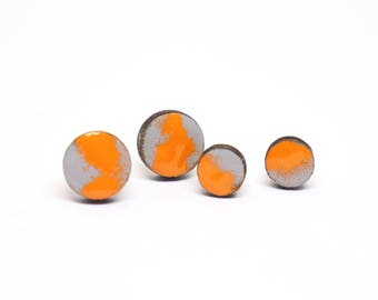 Earrings wood Retro Grey/orange