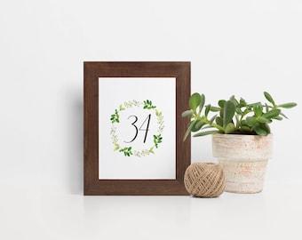 Laurel Wreath Table Numbers, Eucalyptus Wedding Table Numbers, Table Numbers For Wedding, Table Number Cards, Printable Table Numbers