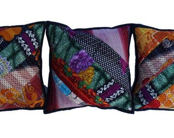 Free Shipping -Indian quilted kantha cushion multi color kantha pillow cover 12 x 12 handmade