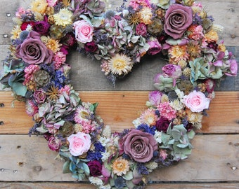 Dried flower wreath, Heart wreath, floral wreath, door wreath, natural wreath, dried floral, indoor wreath, all year wreath, wedding flowers