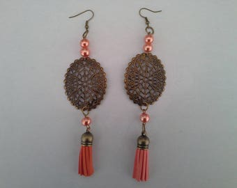 Earrings bronze and orange suede tassel