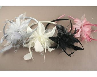 Pink, Silver Grey Gray, Cream & Black feather flower fascinator on a alice band, Church Fascinator, Wedding Hair, Flower Hair Headbands