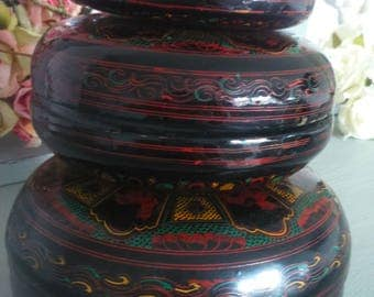 Oriental Asian Trio of Decorative Stacking Lacquered Pots-Hand Engraved
