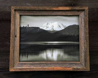 Mt. Rainier Black and White on Canvas Framed by Re-purposed Century Old Barnwood