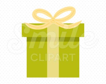 GREEN GIFT BOX Clipart Illustration for Commercial Use | 0093