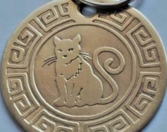 HandmadeA33-Free Shipping-Cat Tag -Cat ID Tag - Cat Name Tag - Handmade BRASS Pet Tag