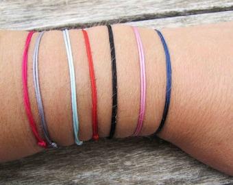 1 cord bracelet color red, pink, blue, black, turquoise, Garnet, gray