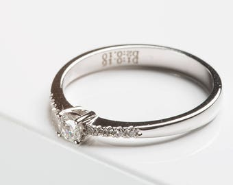 Engagement ring, Solitaire ring, jewelry ring in white gold with brilliant-cut diamonds - 585 gold - shiny