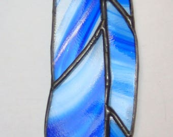 Stained glass Blue baroque feather