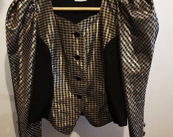 Chic Fitted 80's Gold and Black Tartan Jacket