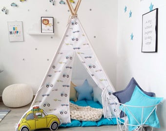 Kids Teepee with cars, Tipi with poles, Boys tepee, Playtent, Childrens wigwam, Cars kids room decor, Teepee for boys, teepee tent
