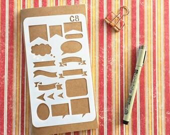 Bullet Journal Stencil #C8 - Planner, Journal, Craft, Scrapbooking, Decoration