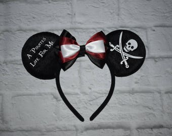Pirates life for me, skull and crossbones, pirate mickey, mickey ears, mouse ears, mickey headbands, Disney, pirates of the Caribbean
