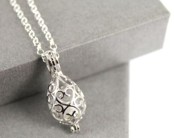 Sterling Silver Openwork Teardrop Locket with Fillable Glass Orb, Memorial Jewellery, Urn Locket, Fillable Jewelry, Cremation necklace