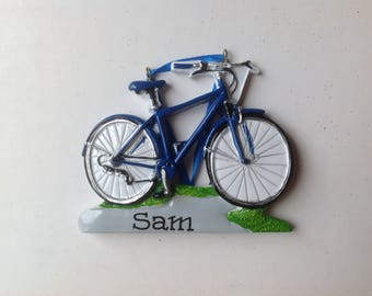 Blue Bike -Personalized Bicycle, biking, spinning, cycling , bike race Christmas Ornament Gift