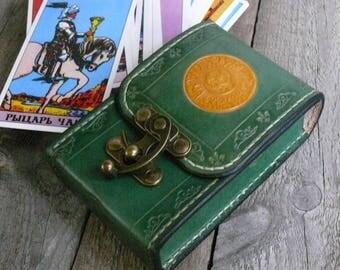 Tarot Deck Box Sun Moon Green Tarot bag Original Rider Waite Tarot leather case Leather pouch Tarot Card holder Leather bag