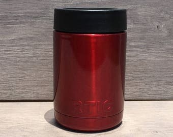 Ready to Ship! Metallic Red Powder Coated RTIC 12 oz. Can Cooler - Stainless Steel Can Cooler - Engraved Can Cooler - RTIC Can