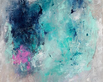 """Original painting, abstract painting on canvas, blue turquoise pink painting, Original gift idea, 18""""x14"""""""