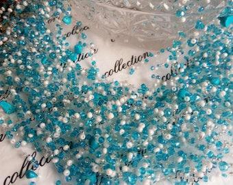 Beaded Necklace Air Necklace Blue Air Necklace Air Beads Handmade Jewelry Beaded Crocheted Gift for Her