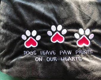 Embroidered Dog Paws Blanket