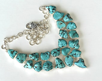 Turquoise Nuggets Necklace - Bib Drops Shape