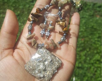 Tiger's Eye, Autumn Jasper and Citrine Chip Bead and Mica Necklace Set