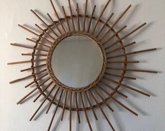 Large 70cm vintage 1970s Wicker rattan Sun mirror