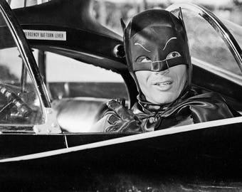 Adam West As Batman In Batmobile Black & White Glossy Print Photo Picture