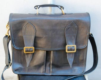 Handmade Black Kangaroo Leather Briefcase with 3 Partitions