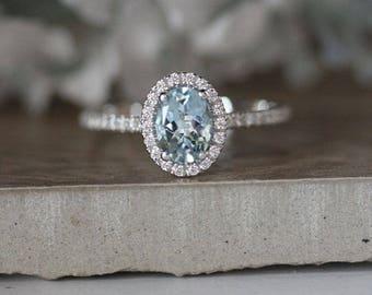 Aquamarine Engagement Ring, Oval 7x5mm Natural Aquamarine 14k White Gold and Diamond Halo Ring, Half Eternity Diamond Band, Diamond Halo