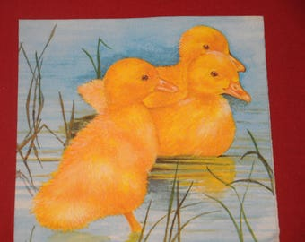 "napkin ""Ducklings"" animals theme"