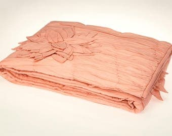 Rouched Fleur Hand Made Luxury Collection Quilt Baby Girl  Coral 3D Floral Crib Bedding - Free Personalization