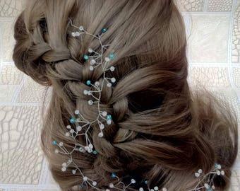 Blue hair accessories, Bridal hair vine, wedinng hair accessories, Cristal hair vine, Bride headpiece