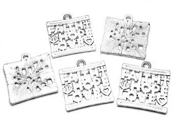 5 FAITH HOPE LOVE Pendant Charms, Christian Jewelry, Catholic Protestant, Religious, Inspirational, Silver Tone, Anchor Heart Cross