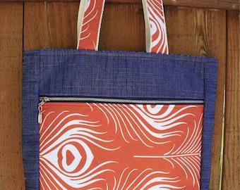 Rust orange and denim tote, medium tote