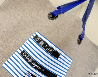Tote bag in natural linen, Navy stripe and combi wv