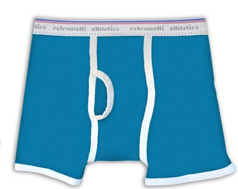 Cerulean Blue Retro Boxers, new, jockey, boxerbriefs, 80s, 70s, mens boxer briefs, y fronts, vintage underwear, unique, geek underwear