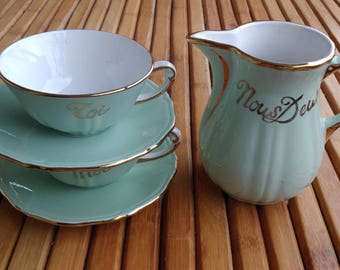 NOUS DEUX breakfast service - made in france - vintage - collector - celadon green