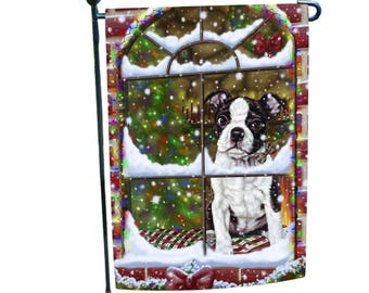 Please Come Home For Christmas Boston Terrier Dog Sitting In Window Garden  Flag