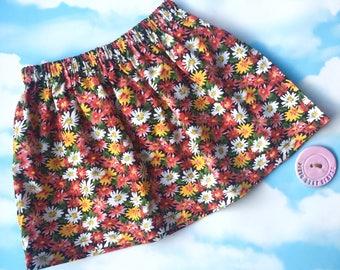 Floral girl skirt/ vintage style skirt/ vintagd floral skirt/ girls handmade skirt/ girls floral clothing/ girks birthday skirt/ girls gift