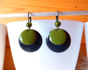 earring with double sequin gray slate and olive green