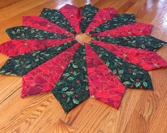 Christmas Tree Skirt Red And Green Quilted Holly
